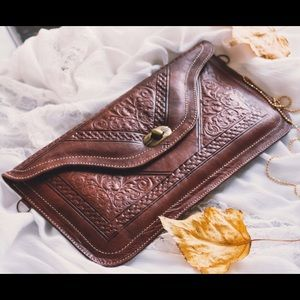 Leather Handmade Moroccan Purse & Makeup Wallet.